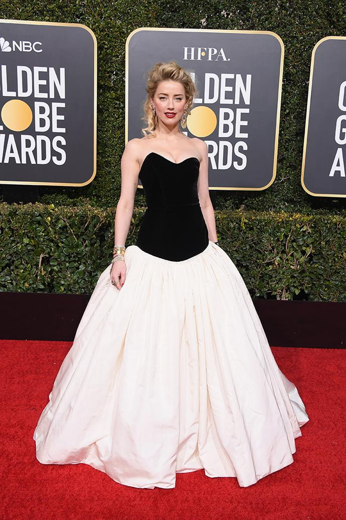 Amber Heard in Monique Lhuillier.