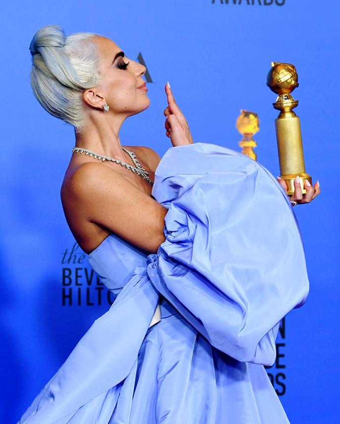 Lady Gaga and her Golden Globe.