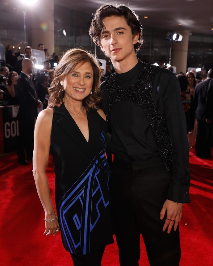 Timothée Chalamet and his mother, Nicole Flender.
