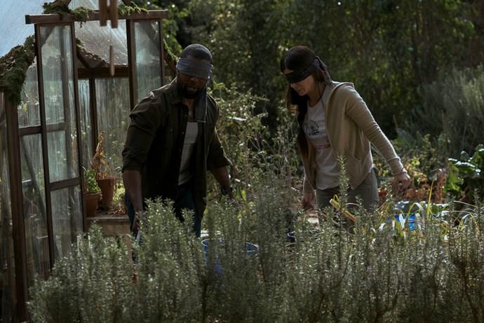 Trevante Rhodes and Sandra Bullock in *Bird Box.*