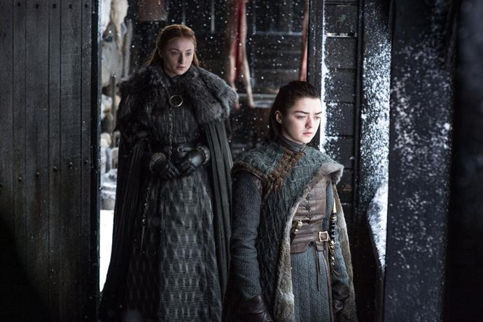 **Arya and Sansa scheme their way to the top.**  <br><br> Sisters are doing it for themselves. After slight relationship tensions in season 7, the Stark ladies are back on track and both in positions of power, having overthrown and executed Littlefinger. Thanks to Sansa's influence over Winterfell, and Arya's experience in combat and training with the Faceless Men, these two could prove worthy contenders for the throne. There's even speculation Arya might use Littlefinger's face to impersonate him and weasel her way into King's Landing.