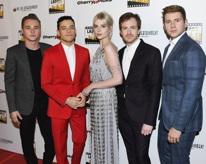 Malek and Boynton with their *Bohemian Rhapsody* co-stars on January 9, 2019.