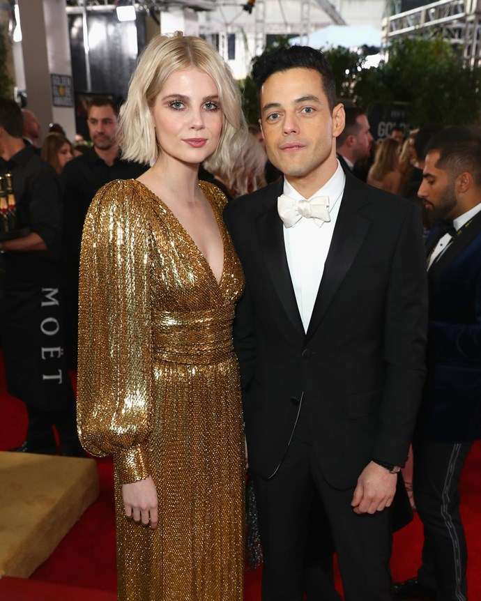 Rami Malek and Lucy Boynton at the Golden Globes on January 6, 2019.