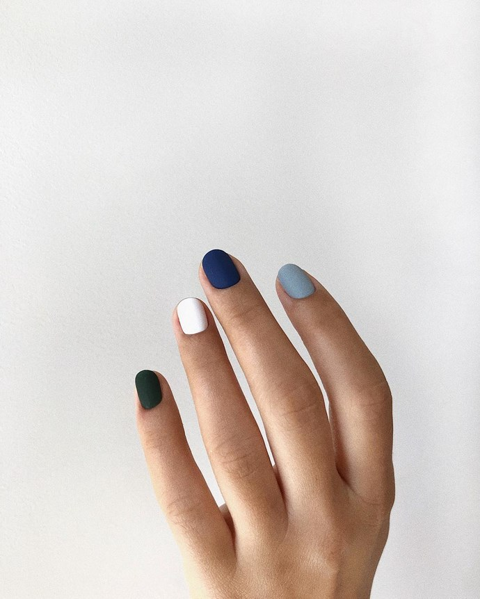 "*Tri-Colour*<bR><br> Those after something a little bit different could consider going three-ways. ""There's an emerging trend of wearing three (or more) contrasting colours on your manicure. People either love it or hate it!""<br><br> Image via [@fynonails](https://www.instagram.com/p/Bk3AVC0BZVH/