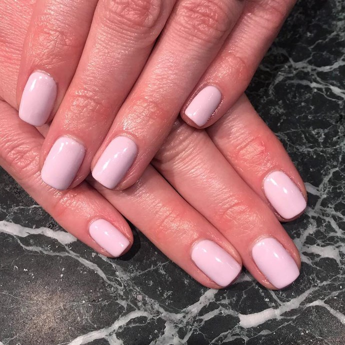 "*Lilac*<br><br> Not quite purple, not quite nude, lilac straddles the line between subtle and statement-making. ""Clients that don't tend to stray from their usual pink are increasingly jumping onto this tone to try something different."" [OPI's Frenchie Likes To Kiss](https://www.opi.com/nail-products/nail-polish/frenchie-likes-kiss