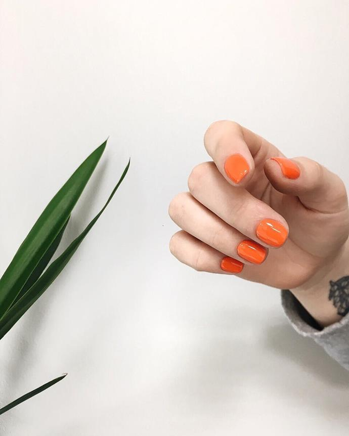 "*Neon Orange*<bR><bR> ""For the girls that want to have a little bit of fun in summer, neon oranges are making a comeback."" Don't have to tell us twice.<br><bR> Image via [@nailplace.manicure](https://www.instagram.com/p/BfIOFs6lejJ/