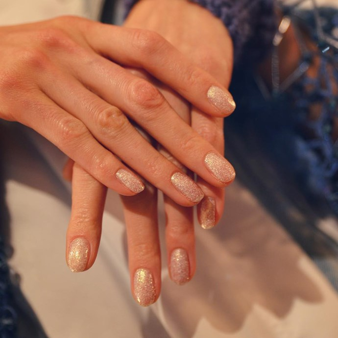 "*Sparkles*<br><br> You can never go wrong with sparkles. Skip the clear-cut look and brush the polish straight onto a clean base: ""Festive seasons calls for champagne and sparkly nails! We have seen increasing number of clients having bit of fun with this and going for see-through sparkly nails.""<br><br> Image via [@jinsoonchoi](https://www.instagram.com/p/BouH5K7hDxr/