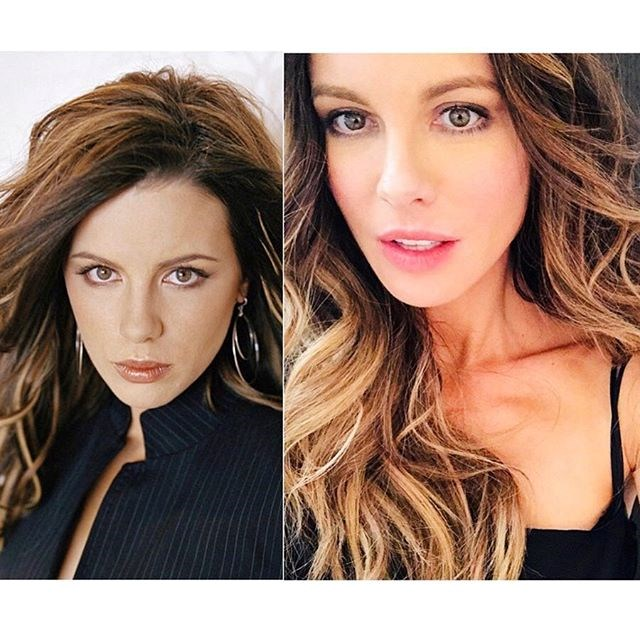 "***Kate Beckinsale*** <br><br> ""Ok ten year challenge. Major developments: 1) I am much happier now and 2) I no longer ask for ""the autumn palette"" at cheap makeup counters. Also actually first pic is 2005 but I can't be arsed looking for a similar one from 2009 so whatever I'm over it"" <br><br> *Image: [@katebeckinsale](https://www.instagram.com/p/Bso1nZnBN65/
