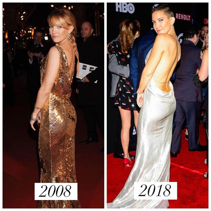 "***Kate Hudson*** <br><br> ""A decade and a buzz cut later #10YearChallenge"" <br><br> *Image: [@katehudson](https://www.instagram.com/p/BspaRlqAqsZ/