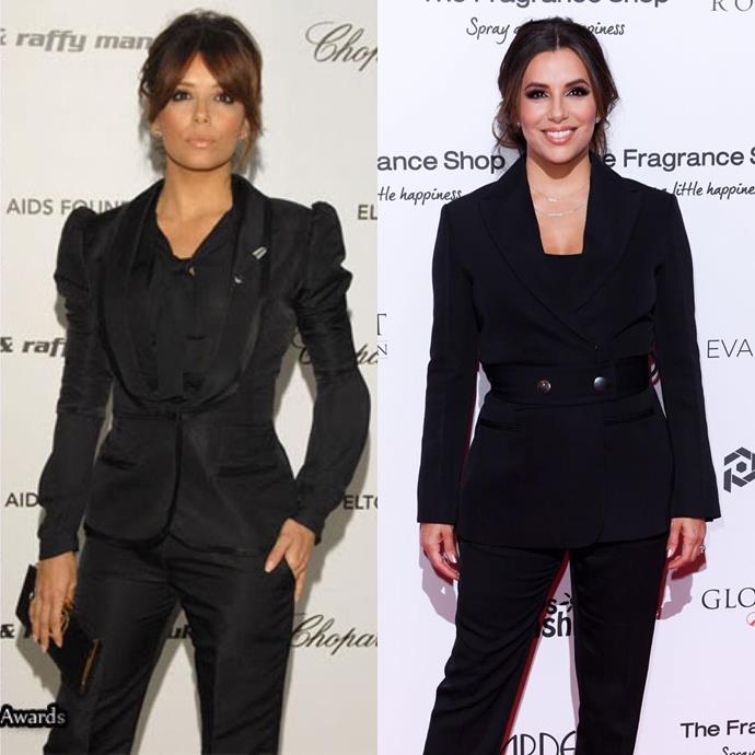 "***Eva Longoria*** <br><br> ""Well, here it goes y'all #10YearChallenge #BangBang #2008vs2018"" <br><br> *Image: [@evalongoria](https://www.instagram.com/p/BsqV_HOB_In/