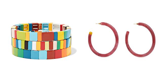 "Bracelet set by Roxanne Assoulin, $300.53 at [Net-a-Porter](https://www.net-a-porter.com/au/en/product/1080142?gclsrc=aw.ds&cm_mmc=Google-ProductSearch-AU--c-_-NAP_EN_AU_PLA-_-NAP+-+AU+-+GS+-+Designer+-+Class_Jewelry+-+Type_Fashion+Jewelry%C2%A0-%C2%A0High%C2%A0-%C2%A0BT--Fashion+Jewelry+-+Bracelets-_-__aud-359472067326:pla-475744897337_APAC&gclid=CjwKCAiAyfvhBRBsEiwAe2t_iw9OmTn7nLSfOTXS67sqdHX3WG4LYQRaAjP_i71wjwbMsYIr9vG90hoChBIQAvD_BwE&gclsrc=aw.ds|target=""_blank""|rel=""nofollow""); Earrings by Cult Gaia, $139.95 at [David Jones](https://www.davidjones.com/brand/cult-gaia/21903467/GENEVA-EARRING.html|target=""_blank""|rel=""nofollow"")"