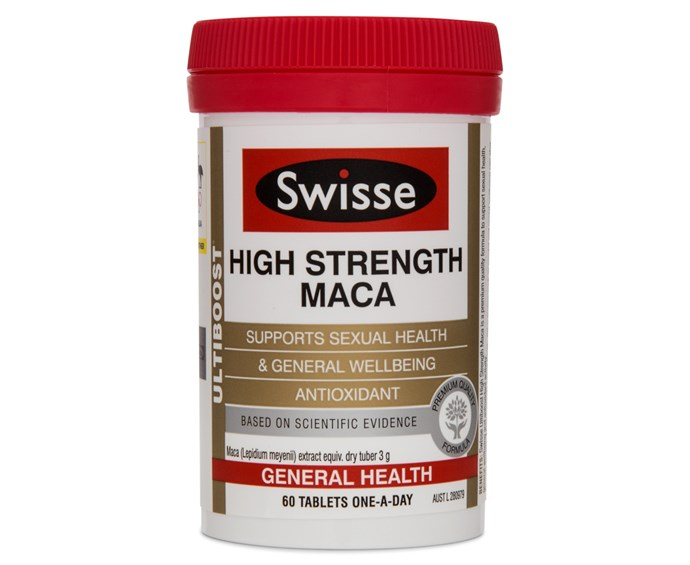 "Swisse Ultiboost High Strengh Maca, $44.95 at [Swisse](https://swisse.com/en-au/products/vitamins-supplements/general-health/swisse-ultiboost-high-strength-maca|target=""_blank""|rel=""nofollow"")."