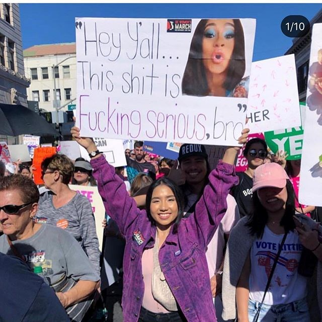"""Picture shared by Cardi B to Instagram. Cardi captioned her post: """"I can't believe how many posters of me were made at Women's March In DC! I wish I was there :') I'm so honoured."""" <br><br> *Image: [@iamcardib](https://www.instagram.com/p/Bs1q77BFBv8/