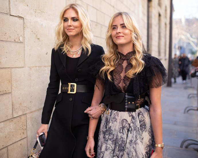 Chiara Ferragni and her sister, Valentina Ferragni, at Dior.