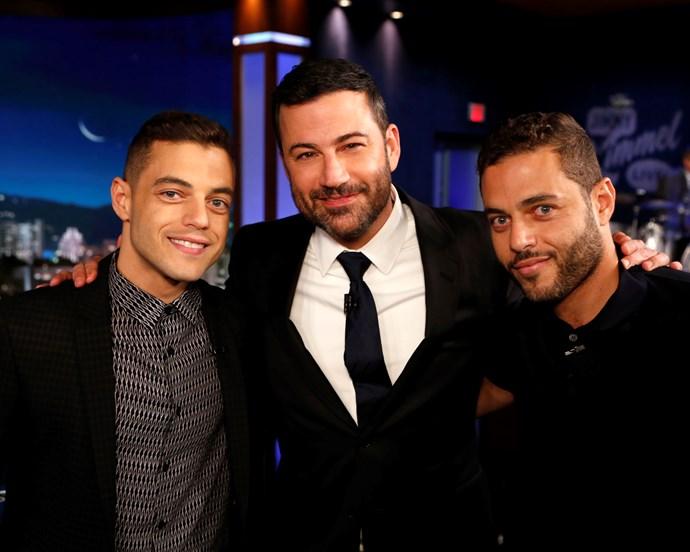 Rami Malek and Sami Malek with Jimmy Kimmel on *Jimmy Kimmel Live!* in 2015.