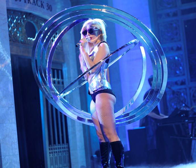 Lady Gaga performing on *Saturday Night Live* in October 2009.
