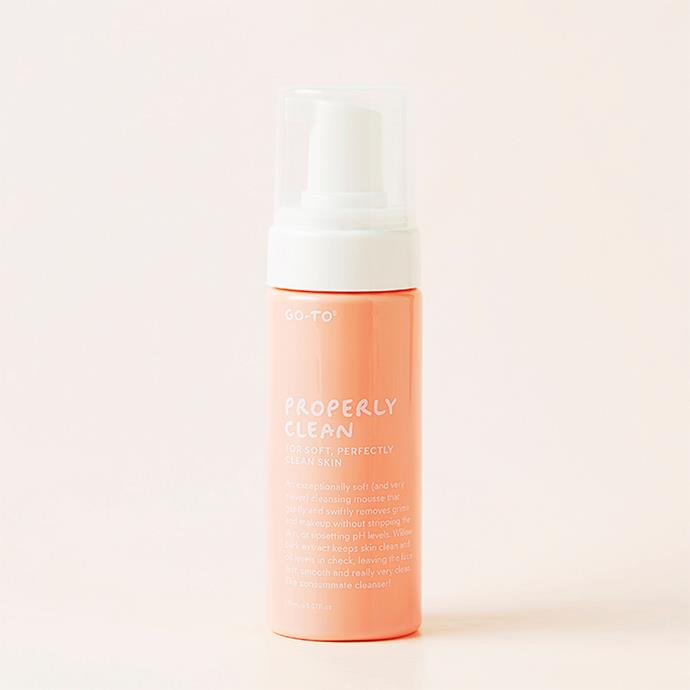 "**Go-To Properly Clean** <br><br> The brainchild of national treasure Zoe Foster Blake, this shower-rack essential is an all-natural silky soft mousse that cleanses your pores to ensure a smooth, hydrated finish. <br><br> *$31.00 at [Go-To](https://www.gotoskincare.com/products/face/properly-clean|target=""_blank""
