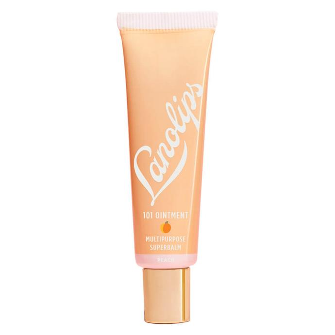 "**Lanolips Fruities 101 In Peach** <br><br> The perfect desert island product, this simple formula nourishes chapped lips, offers the subtlest hint of colour and is infused with a natural peach flavour that smells heavenly.  <br><br> *$14.99 at [Priceline](https://www.priceline.com.au/lanolips-lanolips-101-ointment-fruities-peach-10-g|target=""_blank""