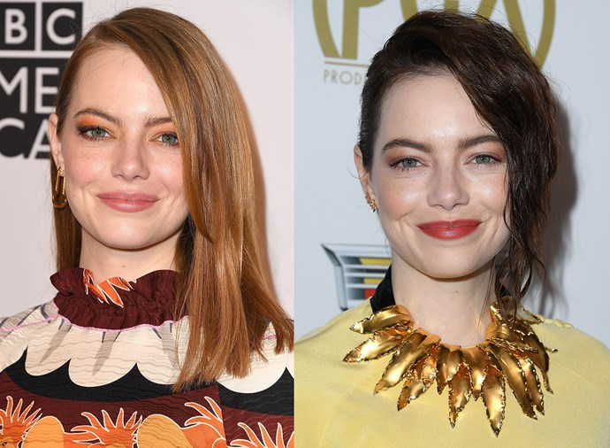 **Emma Stone:** The Oscar winner took a walk on the dark side in early 2019, trading her signature flame-red, poker-straight tresses for a deep shade of mahogany and a subtle wave.
