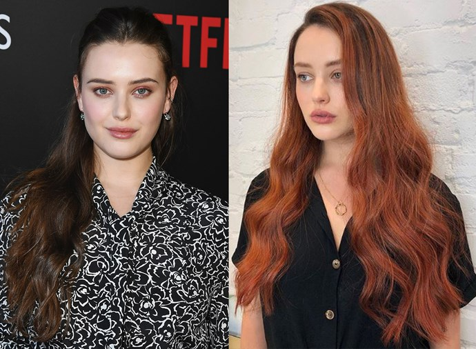 **Katherine Langford:** The *13 Reasons Why* star is famous for her waist-length hair that doesn't need extensions to look lush. But January 2019 saw her shake up her go-to beauty look by embrace a bold shade of copper red.
