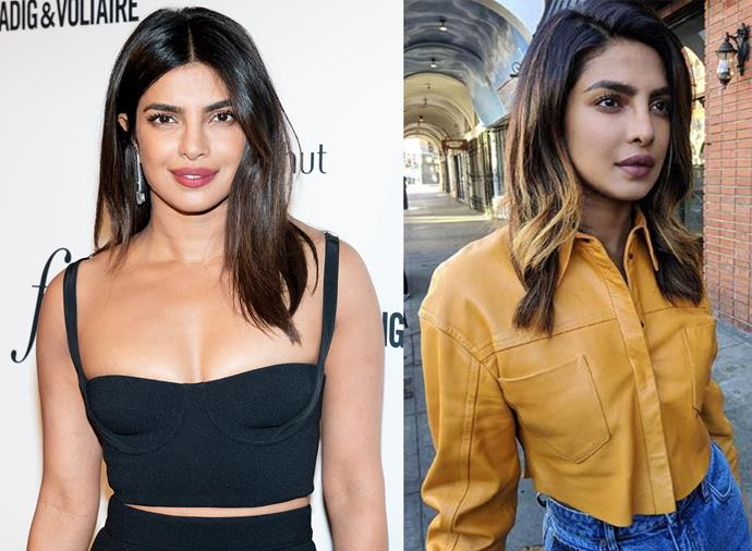 **Priyanka Chopra:** The former Bollywood star rarely strays from her dark-brown shade, but for 2019 she refreshed her mid-length locks by adding some golden-blonde balayage. We're into it.