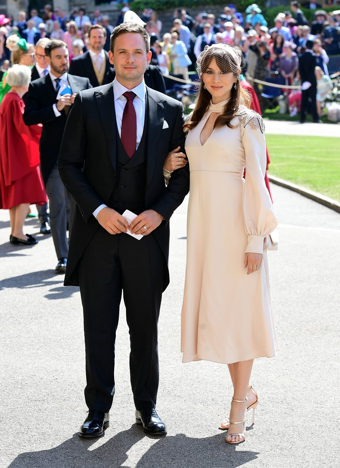 *Suits* actor Patrick J. Adams and Troian Bellisario at Meghan Markle and Prince Harry's wedding.