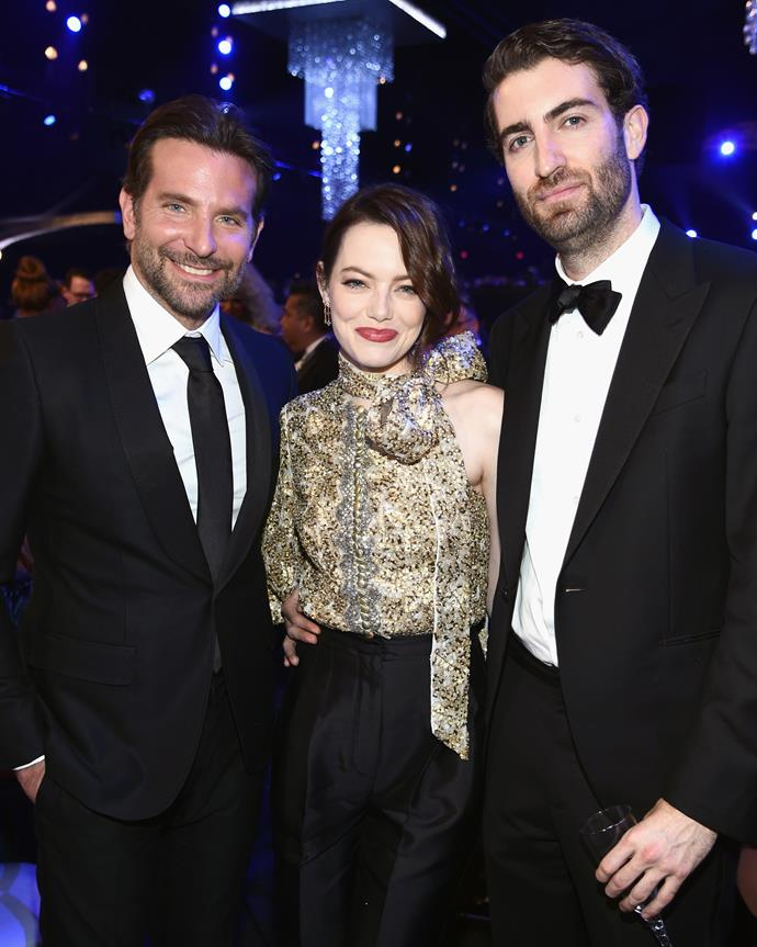 Emma Stone with her boyfriend, Dave McCary, and Bradley Cooper.