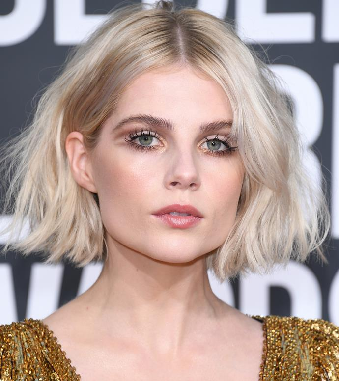 Lucy Boynton at the Golden Globe Awards on January 7, 2019.