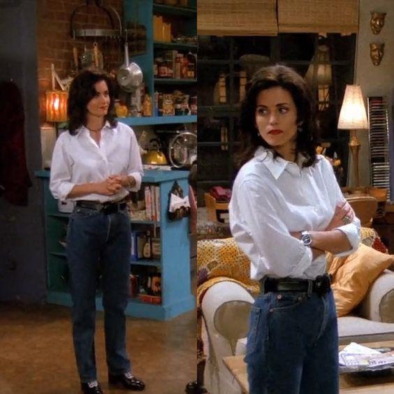 Monica knew the power of the crisp white shirt.