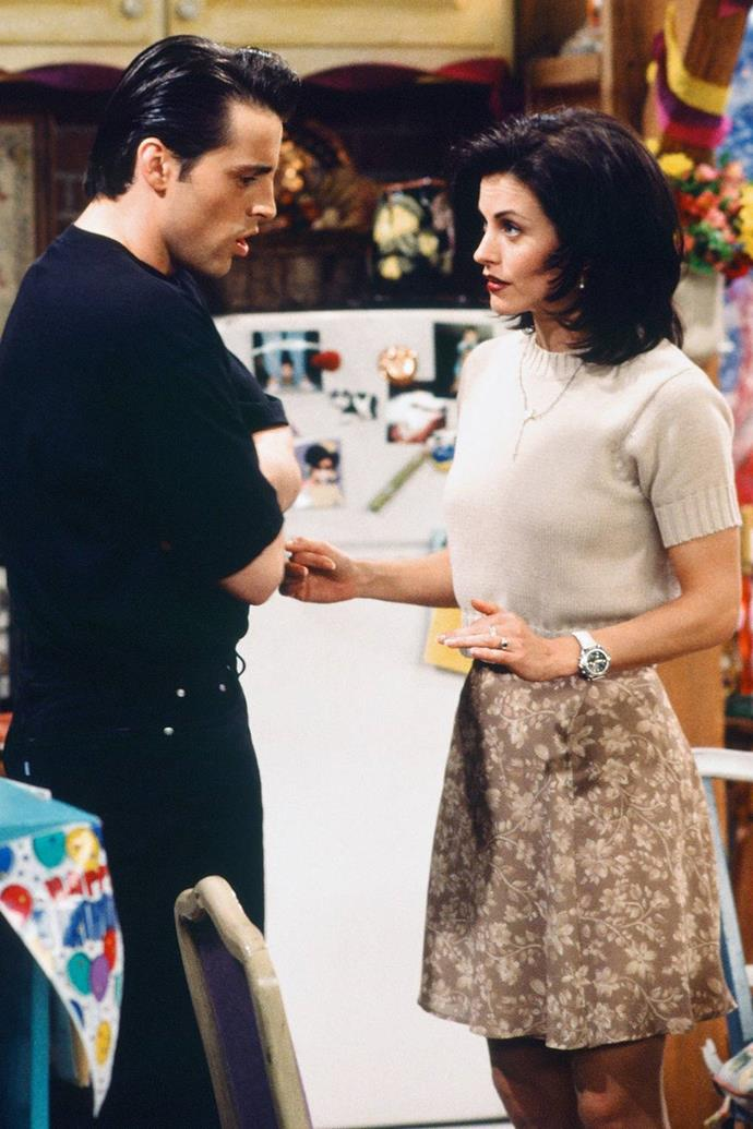 Monica knows the key to the sweater-skirt combo is a tonal colour palette.