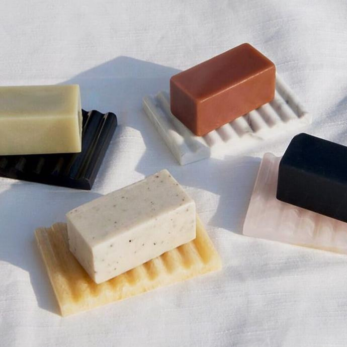 "***[Soap by Binu Binu](https://www.binu-binu.com/shop|target=""_blank""|rel=""nofollow"")***<br><br> If your terrazzo-countertop shots are missing a little structure, Binu Binu's block-cut soaps are known for cleansing the skin and coming in an array of Insta-friendly colours."