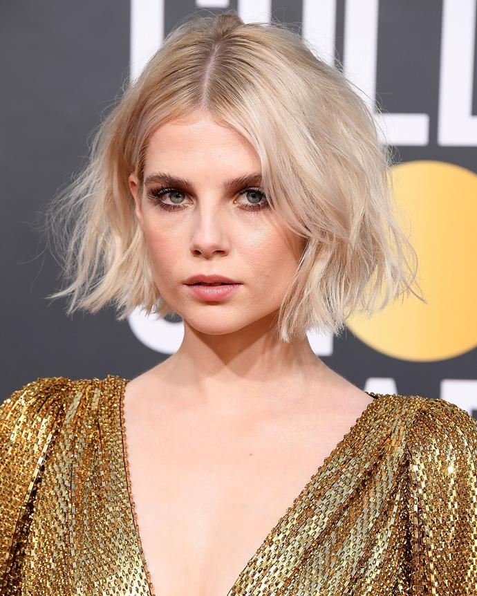 ***January 6, 2019*** <br><br> Perhaps Boynton's most memorable look was at the 2019 Golden Globe Awards, where she debuted her bluntly chopped bob and minimal eye makeup—and spawned a thousand imitations in the process.