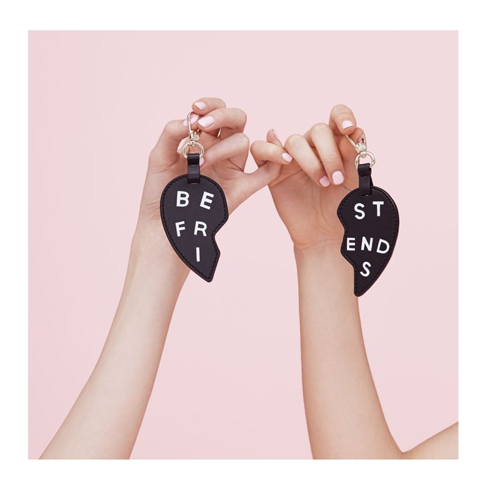 """*Matching key-chains, so you'll always think of them*<br><br> This cute matching set has the added benefit of helping you find your keys in the expanse of your bag—and reminding you to call her when you do.<br><br> Keychains, $45.58 at [Pop & Suki](https://popandsuki.com/products/bff-heart