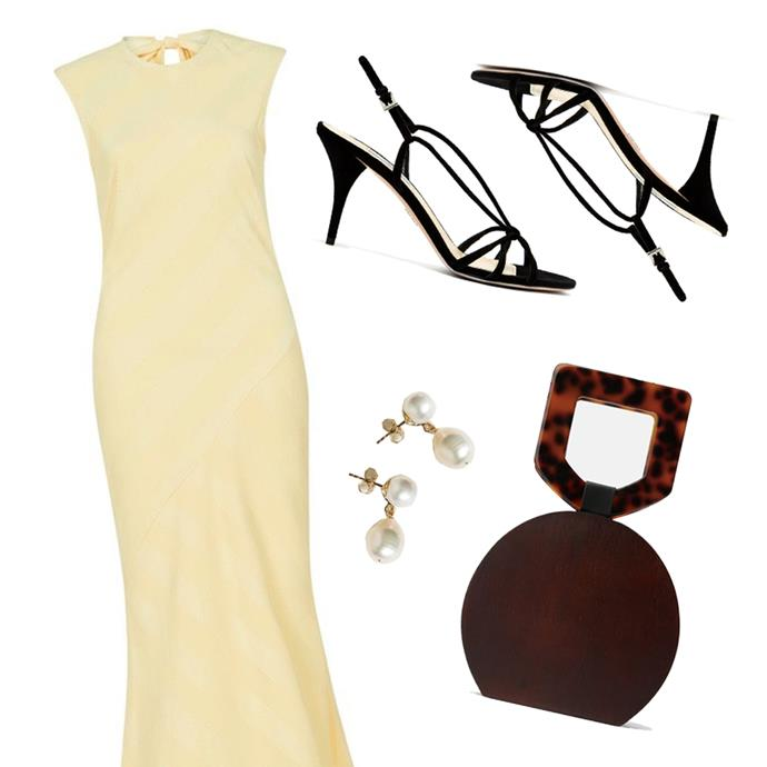 """***A fancy dinner***<br><br> If you've got plans to be wined and dined in a fancy restaurant this Valentine's, go for a soft-coloured centrepiece with stylish accessories.<br><br> Our recommendation? An ankle-grazing dress in butter-milk yellow, lilac or cornflower blue, barely-there heeled sandals, pearl earrings and a top-handle bag to store lipstick top-ups and mints.<br><br> Dress, $729 at [Rebecca Vallance](https://www.rebeccavallance.com/dolores-maxi