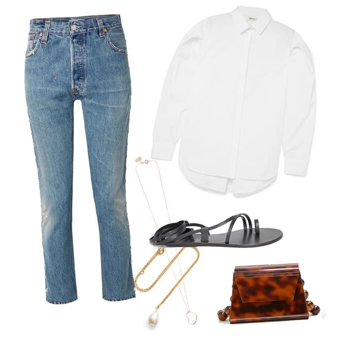 """***A weekend getaway***<br><br> Escaping to the country, beach or mountain-side retreat? Prioritise comfort, style and ease in a pair of blue jeans, a great white shirt and leather sandals. Elevate your look a little with lots of layered gold necklaces, a chic cross-body and a Meghan Markle-esque messy bun. <br><br> Jeans by Re/Done, $187 at [NET-A-PORTER](https://www.net-a-porter.com/au/en/product/1076978