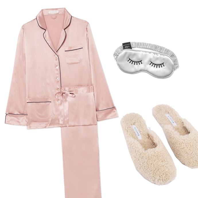 """***A night in***<br><br> Got wine and Netflix (and chill?) on the menu? You can definitely opt for pyjamas all day—but make them luxe. A silk set with soft shearling slippers will keep you stylish and comfy for your movie marathon. <br><br> Pyjamas by Olivia von Halle, $603 at [NET-A-PORTER](https://www.net-a-porter.com/au/en/product/1105535/Olivia_von_Halle/coco-silk-satin-pajama-set