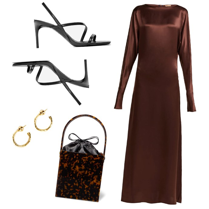 """***An extravagant night out***<br><br> If your plans require you to dress up a little more (think: a trip to the theatre or the opera followed by dinner), liquid silk will serve you well. Opt for a neutral tone in a gorgeous shape, then pair with sandals, small gold hoops and a statement bag.<br><br> Dress by Albus Lumen, $930 at [MATCHESFASHION.COM](https://www.matchesfashion.com/au/products/Albus-Lumen-Alma-silk-satin-maxi-dress-1254664