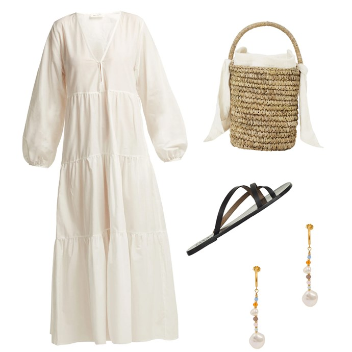 """***A romantic picnic***<br><br> Has your partner planned a night outside under the sky? We would suggest leaning a little more casual with some playful details. <br><br> A tiered midi dress in soft white, cream, pink or yellow will be the perfect feminine approach (perfect to graze on antipasto in). Pair it with leather sandals, a uber-cute basket bag and a statement earring to glitz things up.<br><br> Dress by Matteau, $520 at [MATCHESFASHION.COM](https://www.matchesfashion.com/au/products/1245948