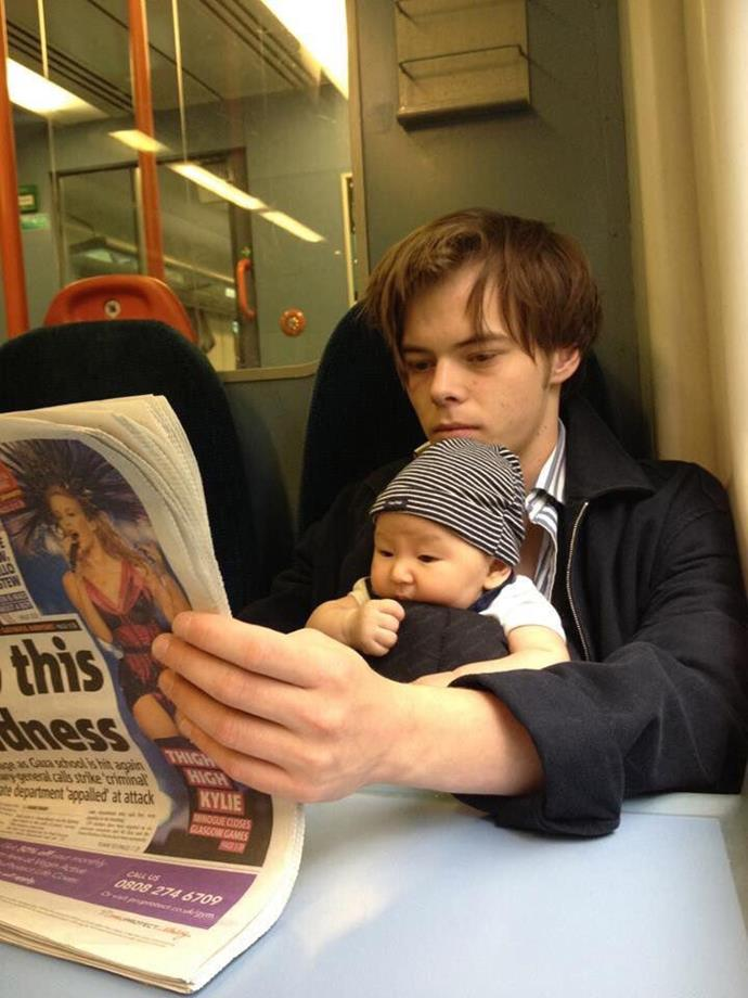 **Charlie Heaton** <br><br> The 25-year-old *Stranger Things* star, who is dating co-star Natalia Dyer, is a father to three-year-old son Archie from his relationship with ex-girlfriend Akiko Matsuura.