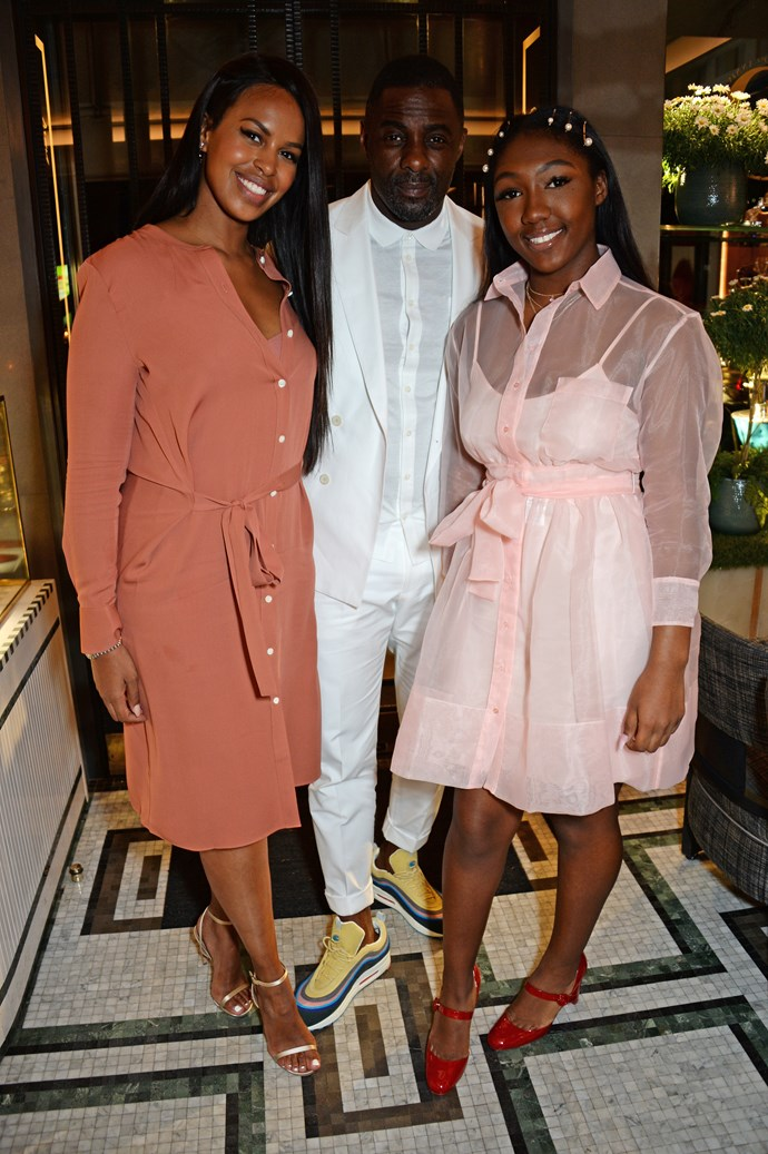 **Idris Elba** <br><br> Elba, who is engaged to Sabrina Dhowre (left), has two children. His daughter, Isan, 16, (pictured at right) was from his marriage to first wife Hanne 'Kim' Norgaard...