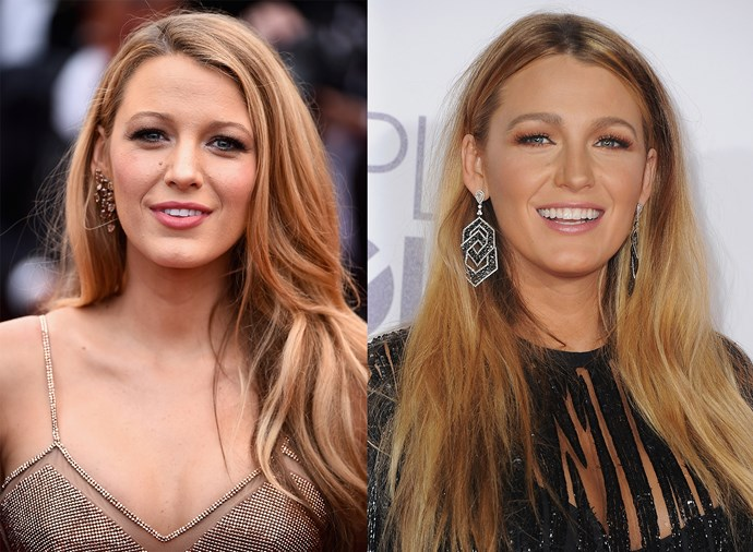 **Blake Lively** <br><br> The perennially blonde actress hardly ever strays from her Hollywood-approved waves, so seeing her with a dramatic middle part is a major departure.