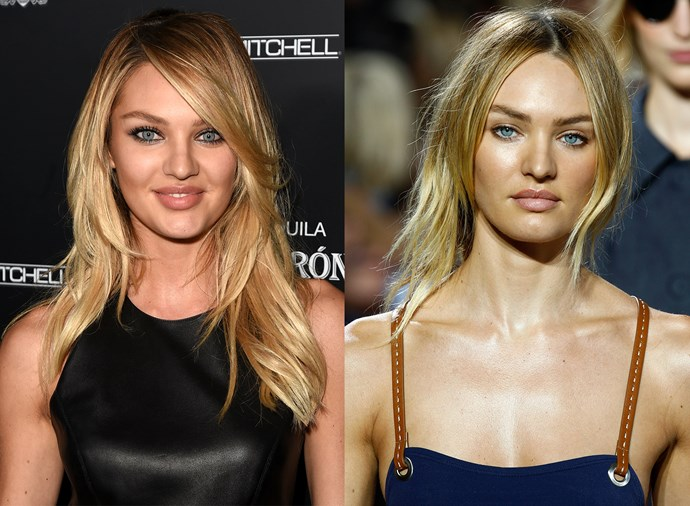 **Candice Swanepoel** <br><Br> When she started her career, Swanepoel favoured the very Victoria's Secret-friendly side part, but these days she prefers a modern, straight-down-the-line look.