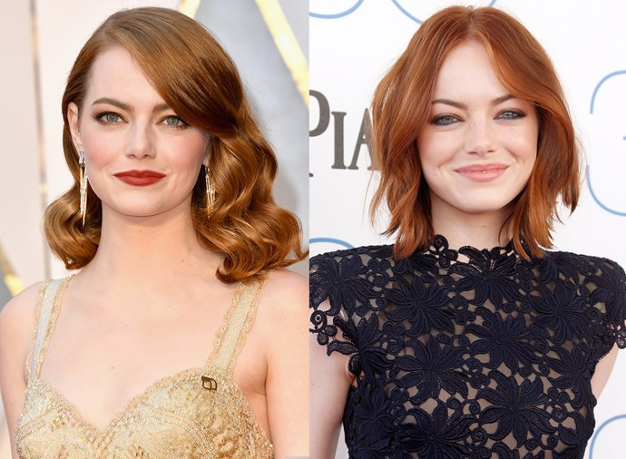 **Emma Stone** <br><br> It's nearly impossible to find photos of Stone without her signature side-sweep of hair, but a few years back she hit the red carpet and embraced a middle part and we love it.