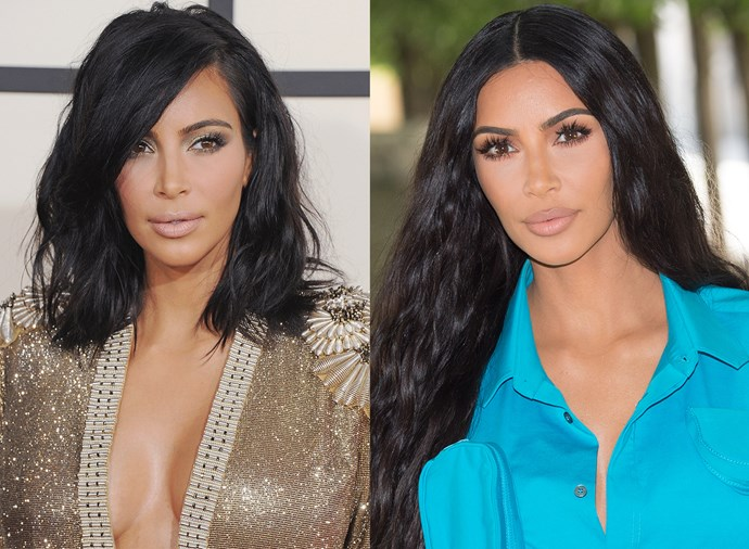 **Kim Kardashian West** <br><br> The beauty chameleon has played with platinum blonde hair and braids, so trying on a different part is really no major feat for her.