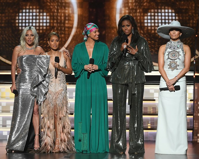 Lady Gaga, Jada Pinkett Smith, Alicia Keys, Michelle Obama and Jennifer Lopez.