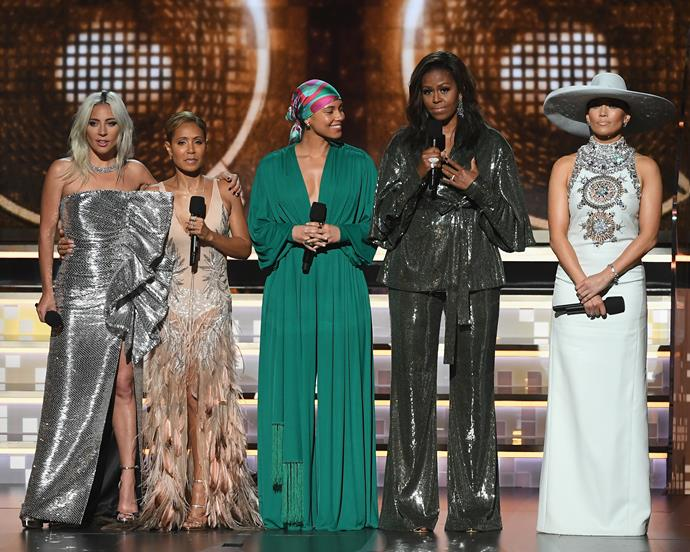 Lady Gaga, Jada Pinkett Smith, Alicia Keys, Michelle Obama and Jennifer Lopez.