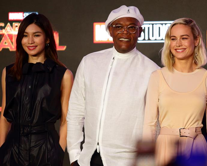 Gemma Chan, Samuel L. Jackson and Brie Larson on February 14, 2019.