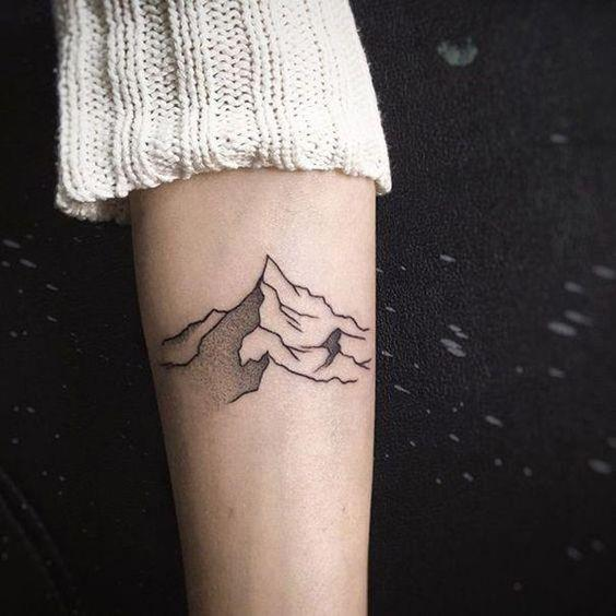 ***Mountain Tattoos***<br><Br> Despite being a relatively flat country with few ranges, mountain-themed tattoos are having a moment in Australia. In abstract lines or in a more realistic style, these are perfect for the nature-lover.<bR><br> Image via Pinterest.