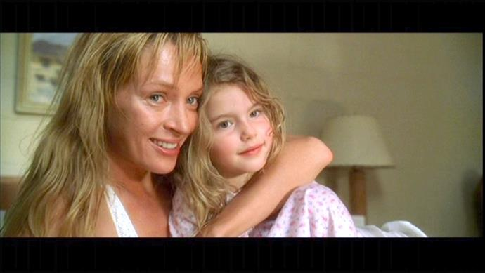 **Uma Thurman and Perla Haney-Jardine in *Kill Bill: Vol. 2* (2004)** <br><br> BB in *Kill Bill* is the perfect mix of her mother, The Bride (Uma Thurman) and her father, Bill (David Carradine). We also can't quite wrap our heads around the fact that Perla Haney-Jardine, the actress that played BB, is now 21 years old.