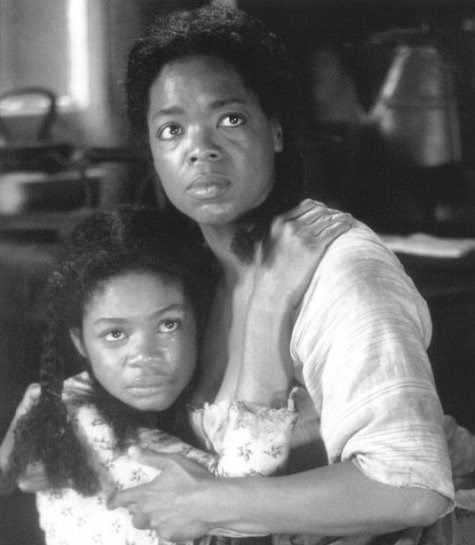 **Oprah Winfrey and Kimberly Elise in *Beloved* (1998)** <br><br> TV legend Winfrey's role in the 1998 horror film *Beloved* is often overlooked, but one thing we can't overlook is the resemblance she bears to her on-screen daughter, Kimberly Elise.